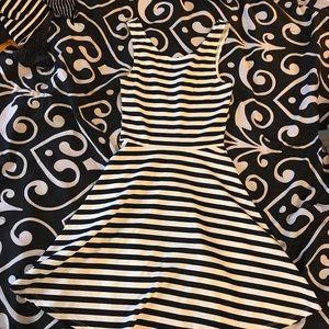 Black & white stripe skater dress